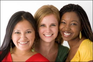 "alt=""3 Smiling, hopeful women"""