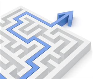"alt=""Maze with a blue arrow showing the way to the goal"""